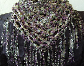 Triangle scarf fringe women/bib scarf/crochet ribbon scarf/ lovers's knot stitch/sparkle scarf/small scarf/Gift for her/Provence colors