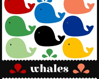 Whales Clip Art. Water sprays and waves, too. Primary colors. Red, blue, light blue, green, light green, orange, dark gray, yellow (gold).