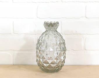 Large Glass Pineapple / Vintage Glass Pineapple / Glass Candy Dish / Pineapple Decor / Glass Bookshelf Decor / Glass Pineapple Dish With Lid