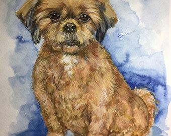 Custom Pet Portrait Portrait Commission Original watercolor painting Dog portrait cat painting Memorial art custom dog painting portrait