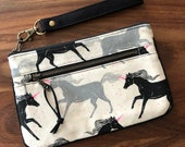 Medium Double Zip Wristlet with Card Slots and Removable Wrist Strap - Gothic Unicorn