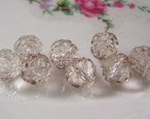 Platinum Glass Rosebud Beads 9mm Smooth Round Druk 9 Beads