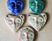 2 Face hearts and 3 face beads
