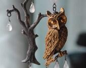 RESERVE For N.G.--Snowy Owl---Vintage Owl Sterling Tree Brooch Moonstone Briollette Asymmetrical EARRINGS