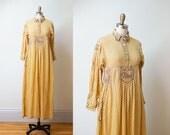 1970s Embroidered Maxi Dress / 70s Pakistani Cotton Caftan