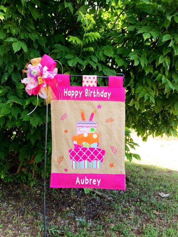 Girls Birthday Garden Flag Happy Birthday Flag Custom Birthday