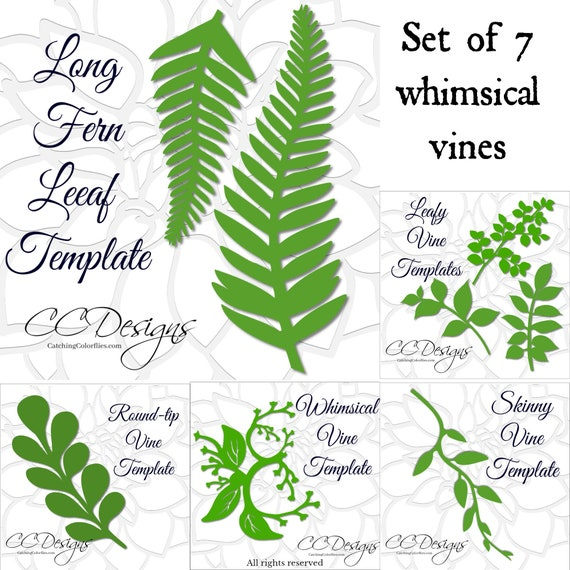 Leaf & Vine Templates, Printable Vine Template, Leaf Vine SVG Cut ...