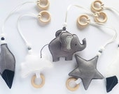 Elephant Hanging Baby Gym Toys Elephant Decor Animal Activity Gym Toy Monochrome Toy Room Decor Play Gym Felt Crib Toys Baby Shower
