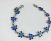 """Vintage Sterling Silver Blue Enamel Flower Pattern 7"""" Inch Bracelet Signed FAS"""