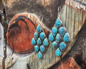 Large Turquoise Cluster Earrings for Women Sterling Silver Anniversary Gift, Native American Indian Jewelry, Real Turquoise Dangles Huge