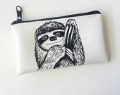 Black and white Sloth Change Purse Wallet Vegan