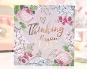 Botanical and Gold Foil Thinking Of You Card