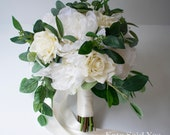 Silk Garden Wedding Bouquet with Rustic Greenery, Roses, Peonies, and Eucalyptus