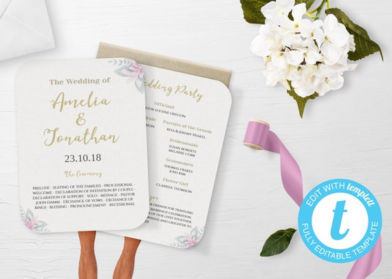 Wedding Fan Wedding Fan Program Wedding Program Wedding Program