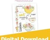 Tea For Two Digital Download Printable Bible Journaling, Margin Stickers, Bookmarks, Sticker Printable