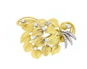 18K Yellow and White Gold Diamond Mulberry Leaves Brooch