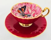 Reserved for S Spectacular Rare butterfly and chrysanthemum teacup and saucer, Aynsley red butterfly teacup and saucer, Aynsley chrysanthemu