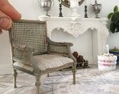 Miniature rattan armchair - rustic french oak cane - Dollhouse - Roombox - Diorama - 1:12 scale