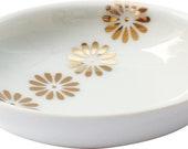 Schale mit Gold / Ringschale mit goldenen Blümchen / Schale weiss und Gold / Schale / Keramikschale / Porzellanschale / Hochzeit schale