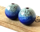 Blue and Green Enamel Round Copper Earring Beads