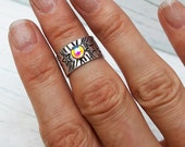 Glass Opal and Sterling Midi Ring with Stars Upper Knuckle
