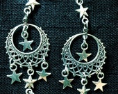 Silver Moon and Star Earrings by MinouBazaar