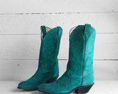 9 M | Women's Teal Suede Western Boots by Code West