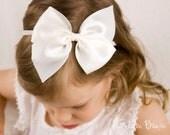Large Satin Bow - Flower Girl Headband - Lilly Large Satin Bow Handmade Baby to Adult Headband - Girls Bows - Girls Hair Clip