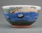 Handmade Ceramic Bowl with Sheep Tubing on River