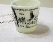 Vintage Ellswoth Pennsylvania Souvenir Mug Bicentennial Travel Vacation Memento Black White Milk Glass Pyrex PanchosPorch