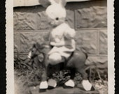 Vintage Photo Up Close View of Stuffed Rabbit on Toy Horse 1940's, Original Found Photo, Vernacular Photography