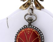 Gorgeous Red Enameled Sterling Silver Pocket Watch with Matching Red Bow Lapel Pin
