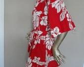 Vintage 1980's HILO HATTIE Short Robe* One Size . Red & White Hibiscus Flowers . Tie Belt . Hawaiian Robe. Lounging Robe .Cotton Beach Robe