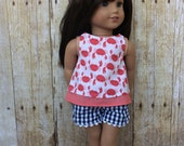 "Coral and crab print overlay tank top and black and white gingham check shorts for 18"" dolls such as American Girl and My Imagination"