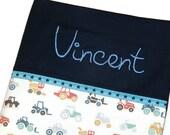 U-Heft Hülle inkl. Name Impfpassfach Traktor Junge blau Geschenk Geburt Baby personlisiert Hausaufgabenheft A5 Buchumschlag