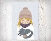 Winter Postkarte Mädchen mit Katze