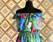 Aloha vintage off the shoulder Hawaiian dress
