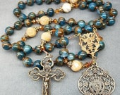 SALE Rosary Blue Apatite with Gold Flashing, in Bronze