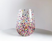 Rainbow Confetti Hand Painted Wine Glass