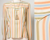 Vintage Top, 80s Top, Multicolor top, Vintage stripe Top, Vintage blouse, Orange Stripe, Green Stripe, Blue Stripe top - M