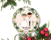 Our First Christmas Ornament, Wedding Ornament, Newylwed Ornament, Just Married Ornament, Personalized Bride and Groom Clothes Ornament