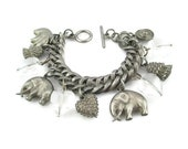 RESERVED Elephant Lover Charm Bracelet/ Clear Lucite Hearts Toggle Bracelet/ Pewter Tone Charm  Bracelet /  Round Curb Link Charm Bracelet