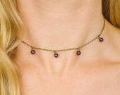 Amethyst beaded necklace. Choker necklace gift for her. Meditation chakra gemstone necklace. Crystal necklace. Statement necklace. Boho.
