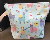 Knitting Llamas,  Zippered project bag