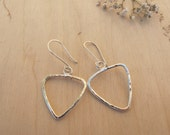 Recycled silver triangle dangle drop earrings, geometric, sterling silver,triangle outline, boho,rustic, big statement earrings,gift for her