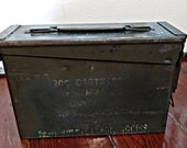 Vintage Military Metal Ammo Box