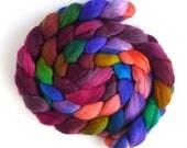 Corriedale Wool Roving - Hand Painted Spinning or Felting Fiber, Piske Bagwash