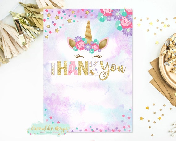 Unicorn Thank You Card Instant Download Unicorn Thank You Note