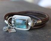 Labradorite bracelet -sterling silver and flashy blue labradorite statement jewelry, boho gemstone, modern geometric leather wrap bracelet
