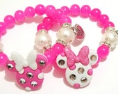 Minnie Mouse Bracelet, Pink, White, Beaded, Girls Bracelet Pink Bow Charm Bracelet Stocking Stuffers Custom Handmade Beaded Jewelry